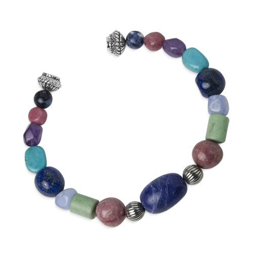 Southwest Spirit Sterling Silver Multi-Gemstone Beaded Magnetic Bracelet