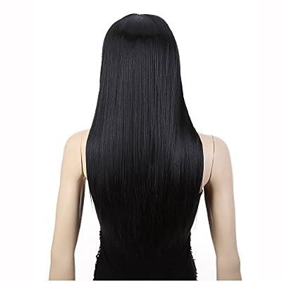 AGPtek® 24 inch Straight Long Beautiful Black Wig Hair