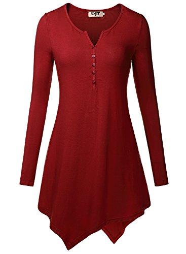 DJT Women's Henley Neck Long Sleeve Hankerchief Hemline Tunic Top Medium Wine (Tunic Tops For Juniors compare prices)