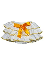 Dchica Frilly Cotton Skirt White and Yellow (Limited Stock Offer Buy any of the Clothes Of D'chica and get a