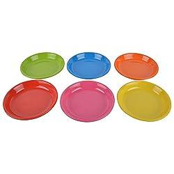 Recon Melamine Halwa Plate, Set Of 6, Round Multi-Colour