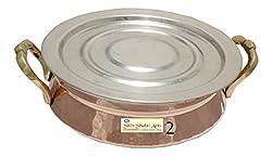 SHIV SHAKTI ARTS Handmade Steel Copper Handi With Handle No 2 With Lid