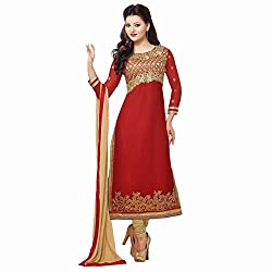 Pavani Women's Georgette Semi Stitched Dress Material (D1500121_Red_Free Size)