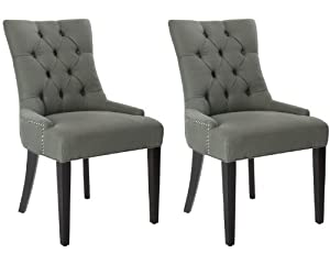 Safavieh Mercer Collection Heather Charcoal Linen Nailhead Dining Chair, Set of 2