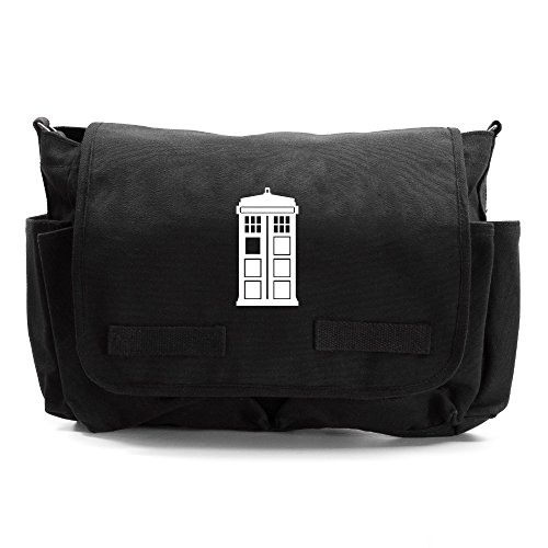 Doctor Who Tardis Army Heavyweight Canvas Messenger Shoulder Bag in Black & White