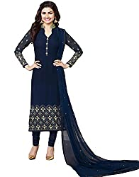 Justkartit Women's Semi-Stitched Dark Blue Colour Smart & Elegant Georgette Dress Material For Special Occasion Wear / Free Size Salwar Kameez For Engagement Party (2016 Launch)