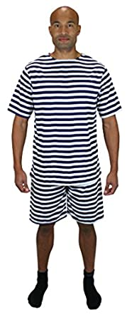 Victorian Men's Costumes 1900s Striped Bathing Suit $51.95 AT vintagedancer.com