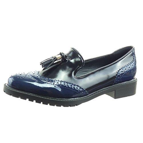 Sopily - Scarpe da Moda Mocassini alla caviglia donna verniciato perforato pon pon Tacco a blocco 3 CM - Blu WLD-8-L01-2 T 40