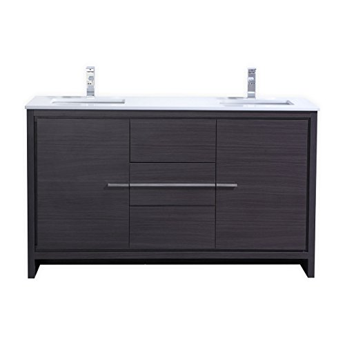KubeBath Dolce 60″ Double Sink Gray Oak Modern Bathroom Vanity with White Quartz Counter-Top (White Quartz Countertop compare prices)