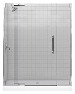 Kohler K-705723-L-SHP Pinstripe Heavy Glass Pivot Shower Door, Bright Polished Silver