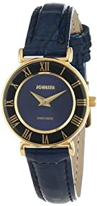 Jowissa Women's J2.041.S Roma 24 mm Gold PVD Blue Dial Roman Numeral Leather Watch