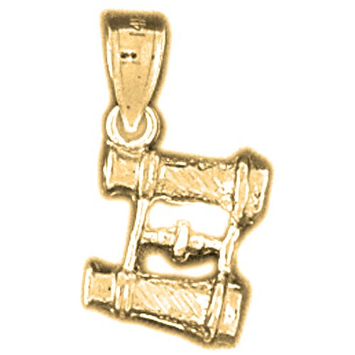 Gold-Plated 925 Sterling Silver 3-D Binoculars Pendant