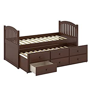 Corliving heritage place painted solid wood single trundle bed with drawers espresso - Solid wood trundle bed with drawers ...