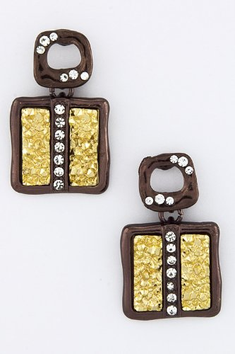 Trendy Fashion Jewelry Square Druzy Earrings By Fashion Destination | (Chocolate) front-626340