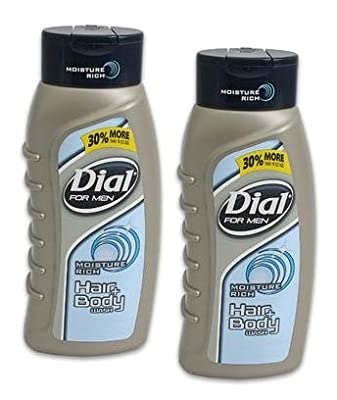 Dial For Men Moisture Rich Hair + Body Wash, With Scalp Conditioners, 21 Fl Oz/ 621 mL, (2 PACK)