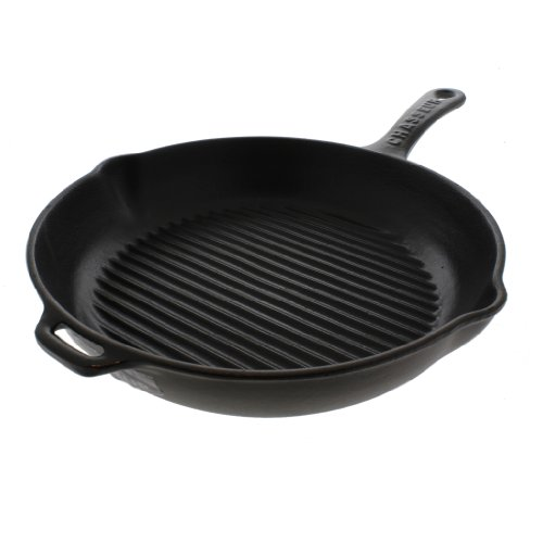 Chasseur 10-inch Black Round French Enameled Cast Iron Grill Pan