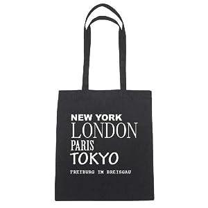 New York, London, Paris, Tokyo, FREIBURG IM BREISGAU - Jutebeutel Tasche Beutel Hipster Bag - Farbe: schwarz