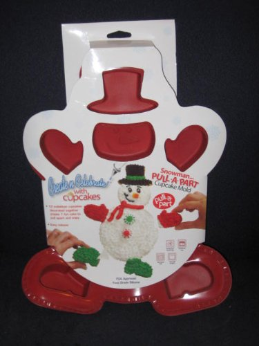 Pull-A-Part Snowman Holiday Silicone Cupcake Mold Cake Baking Pan
