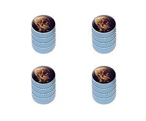 Skull with a Burning Cigarette by Van Gogh Tire Rim Wheel Aluminum Valve Stem Caps – Light Blue Color