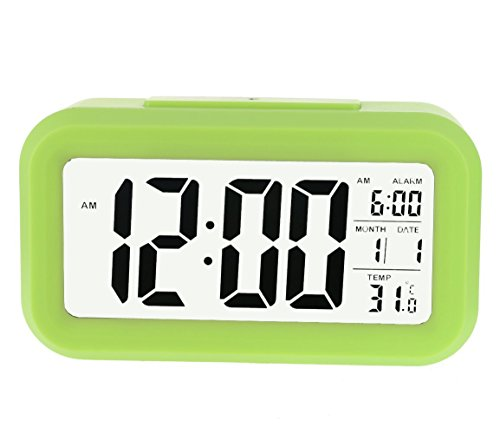 ZHPUAT Morning Clock,Low Light Sensor Technology,Light On Backligt When Detect Low Light,Soft Light That Won't Disturb The Sleep,Progressively Louder Wakey Alarm Wake You Up Softly.Color Green