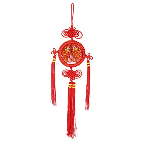 Car Auto Double Fish Design Red Tassel Decor Chinese Knot Ornament