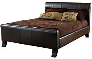 Hillsdale Brookland King Sleigh Bed, Dark Brown Leather