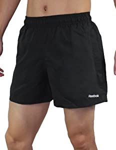 Reebok Mens High Performance Athletic Sports Shorts with Brief Lining S Black