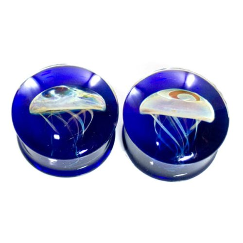 Cobalt Blue Background Amber Purple Jellyfish Plugs - Hand Made Glass Double Flare - 1