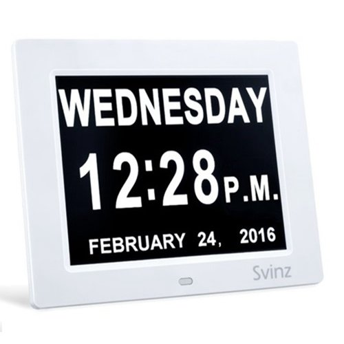 "8"" Digital Calendar Alarm Day Clock by Svinz with Extra Large Non-Abbreviated Day & Month SDC008 - 3 Alarm Settings"