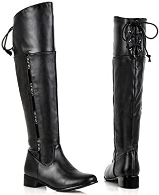 Amazon.com: XCC size women flat over knee boots ladies