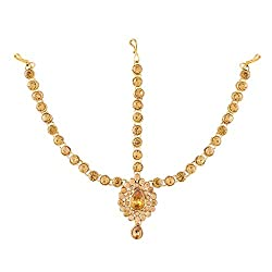 I Jewels Traditional Gold Plated Designer Stone Mathapatti Maang Tikka for Women T1079FL (Gold)