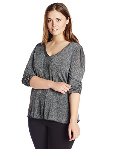 NYDJ Women's Plus-Size Metallic Sweater, Black, 1X