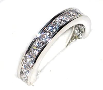 Women's Channel Set STERLING SILVER Ring. Outstanding Quality Eternity Band Handset With Finest Lab Diamonds. 925 STAMPED.