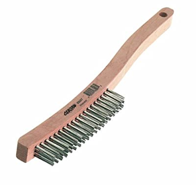 "Osborn International 83100SP Economy Curved Handle Steel Wire Heavy Duty Scratch Brush, 0.014"" Fill Diameter, 6"" Brush Length, 1-1/8""Brush Width, 13-11/16"" Overall Length"