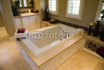 Wallmonkeys Peel and Stick Wall Decals - Designer Bathroom with a Modern Tub and Tile Floor. - 72