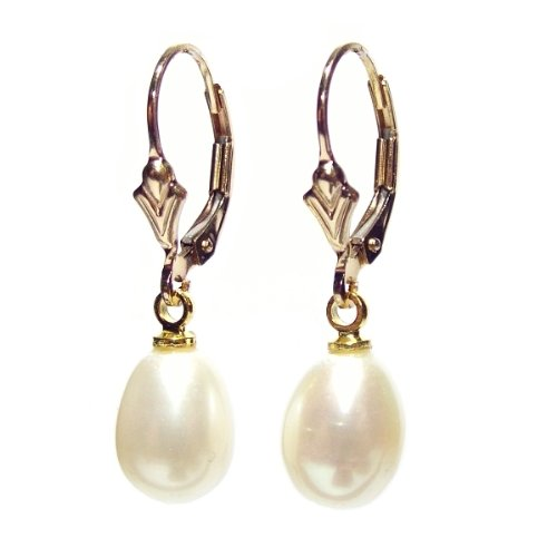 Large Freshwater Pearl drops on 14 carat rolled gold lever back earrings with Gift Box. Beautiful jewellery for very special people.