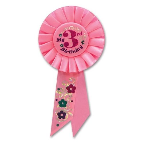 Beistle RS053P My 3rd Birthday Rosette, 3-1/4-Inch by 6-1/2-Inch