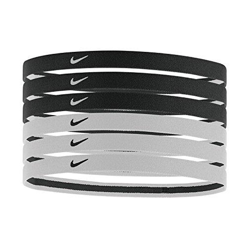 Elastici Tennis NIKE Sport Swoosh Headbands Pacco 6 pezzi capelli FEDERER NADAL (Nero e Bianco)