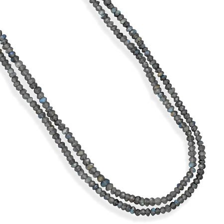 Double Strand Faceted Labradorite Bead Necklace