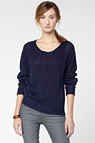 Long Sleeve Linen Crewneck Garment Dyed Sweater
