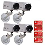 VideoSecu 4 Fake Dummy Simulated Security CCTV Box Cameras with Flashing Red LED Light 1QW