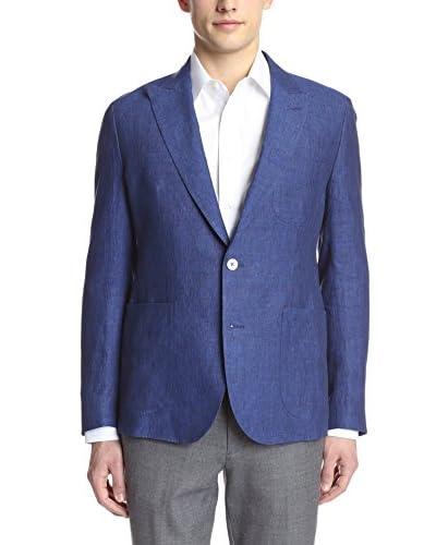 Hardy Amies Men's 2 Button Patch Pocket Peak Lapel Linen Sportcoat
