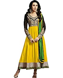 Ladli Creation Women's Georgette Semi Stitched Dress Material (LC_8013_Yellow_Free Size)