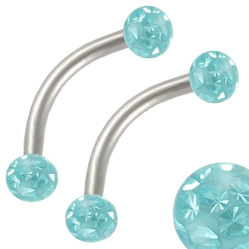 16G 16 Gauge (1.2Mm), 3/8 Inch (10Mm) Long - 316L Stainless Steel Eyebrow Lip Bar Ear Tragus Ring Earrings Curved Curve Straight Barbell With Aquamarine Swarovski Crystal Ferido Ball Aopt- Pierced Jewelry Body Piercing Jewellery- Set Of 2