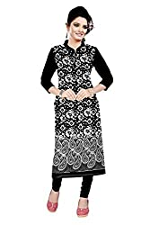 Shree Hans Creation Women's Cotton Semi-Stitched Dress Material (Kp Black@White Fulda Kurti_Black-White)