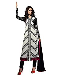 Lookslady Embroidered White & Black Georgette Semi Stitched Salwar Suit