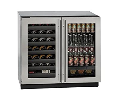 """U-Line U3036BVWCS00A Built-in Beverage Center and Wine Storage, 36"""", Stainless Steel"""