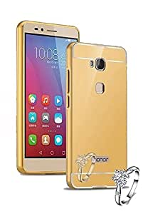 Aart Luxury Metal Bumper + Acrylic Mirror Back Cover Case For Honor5 - X Gold + Portable & Bendable Silicone, Super Bright LED Lamp, 360 Degree Flexible by Aart Store.