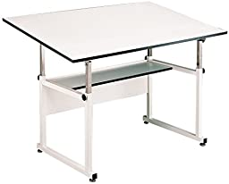 Alvin WorkMaster Table, White Base White Top 37 1/2 inches x 72 inches WM72-4-XB