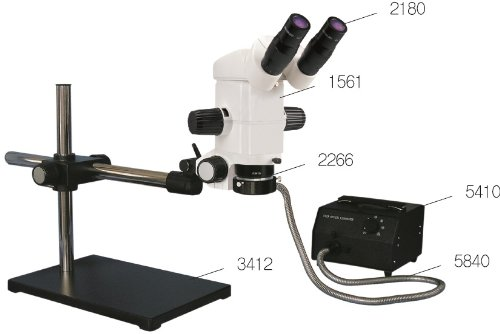 Precision Stereo Zoom Binocular Microscope On Boom Stand With Cold Light Source And Ring Fiber